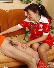 Voluptuous mature nurse getting her twat poked and creamed by well-hung guy