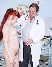 Mature Olga has her redhead hairy pussy gyno speculum examined by gyno doctor