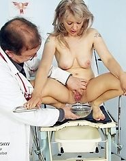 Mature Alena takes pussy enema during mature gyno exam