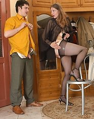 Steamy mature gal in control top pantyhose eagerly giving outrageous legjob