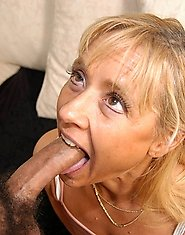Blonde housewife swallowing a big cock