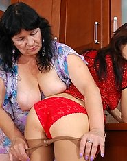 Mature gal and lewd maid taking out rubber instrument to get wild pleasure