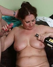 Pissed slut has a cock deep inside her throat