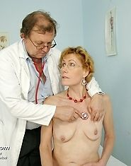 Mature Mila has her pussy examined and also dildo fucked by gyno doctor