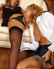 Lascivious mature gal showing cutie a world of lesbian strap-on sensations