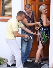 Slutty granny gets pounded by younger studs