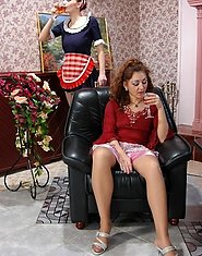 Awesome milf and French maid readily going down for lesbian slits and clits