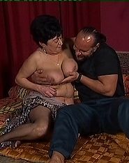Cock sucking grandmother gets fucked on the floor
