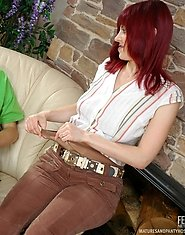 Redhead mature gal in control top tights giving legjob after wild screwing