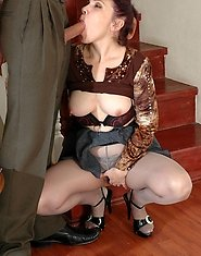 Luscious mature babe in grey pantyhose tricking a guy into a wild fuck fest