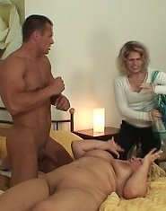 He spots the mature slut masturbating through the door and he can't help but fuck her hard