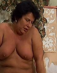 Man fucks old fatty and ejaculates on her tits