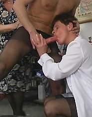 Two bisexual grannies fucked by a guy in pantyhose