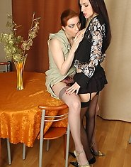 Nasty mature babe and eager gal petting each other in sixty-nine position