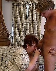 Granny's huge pussy is reamed by younger man