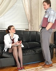 Filthy milf presenting her black hose to her co-worker before wild fucking