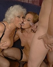 Matrue slut and a MILF sharing a hard cock
