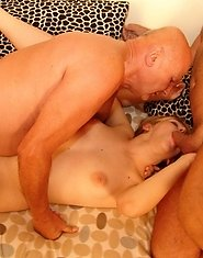 Kristina opens wide for the dirty old gang bang men