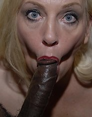 Horny mature blonde loves to suck loads of black dick