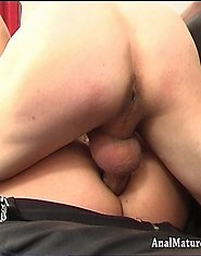 Hard cock fills a mature bum